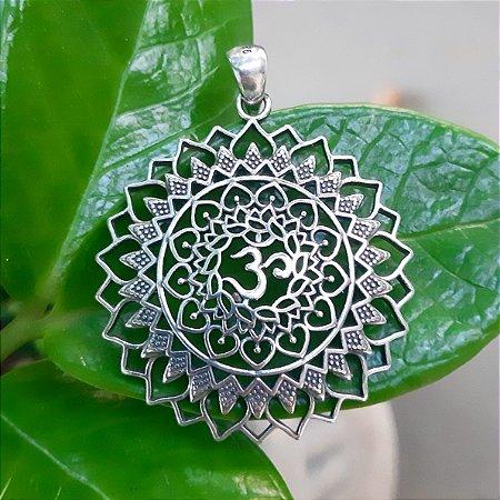 Pingente Mandala com Om em Prata 925