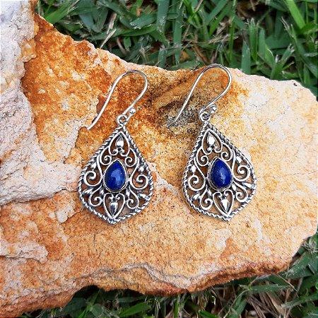 Brinco em Prata 925 e Lápis Lazuli