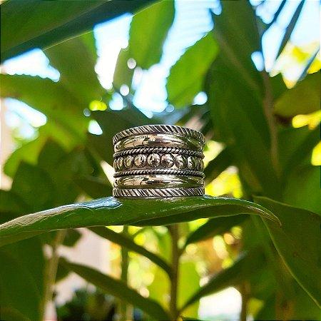 Anel Largo Bali em Prata 925