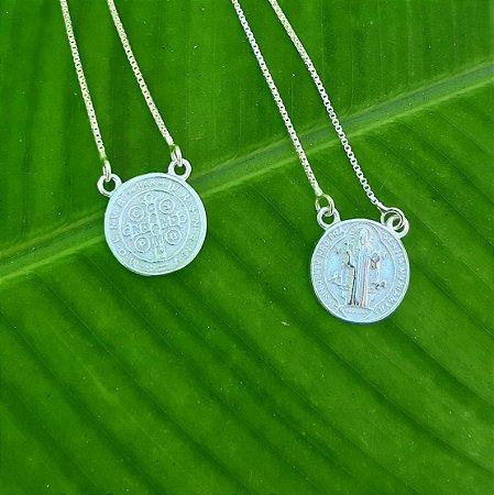 Escapulário Medalha de São Bento em Prata 925