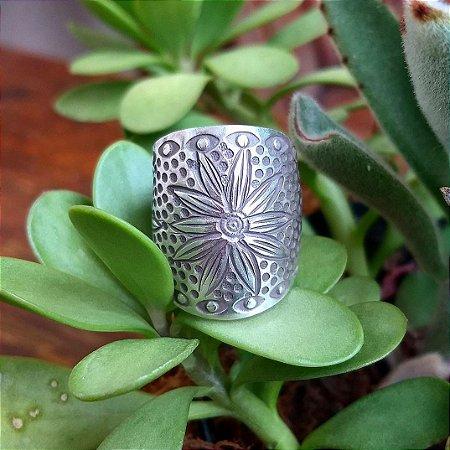Anel Fosco Flor em Prata 925