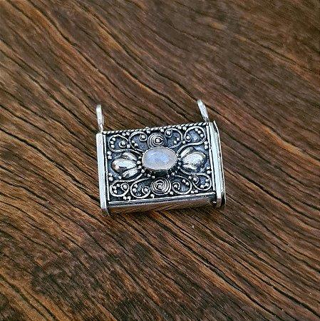Pingente Perfumeiro em Prata 925 e Pedra da Lua