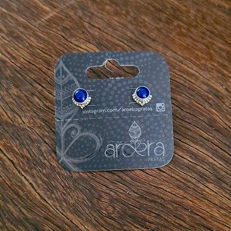 Brinco Pequeno em Prata 925 e Lápis Lazuli