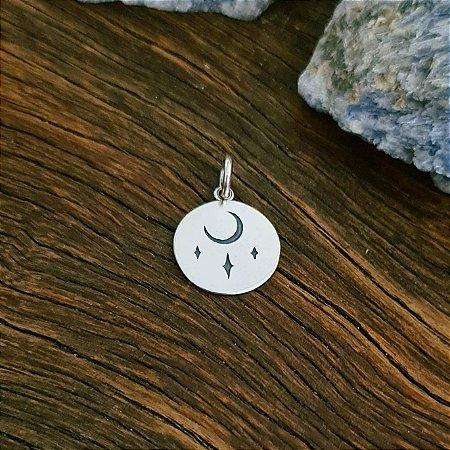 Pingente Medalha com Lua e Estrelas em Prata 925
