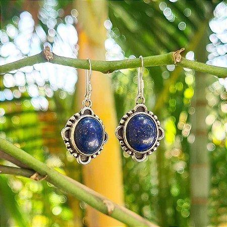 Brinco Médio em Prata 925 e Lápis Lazuli