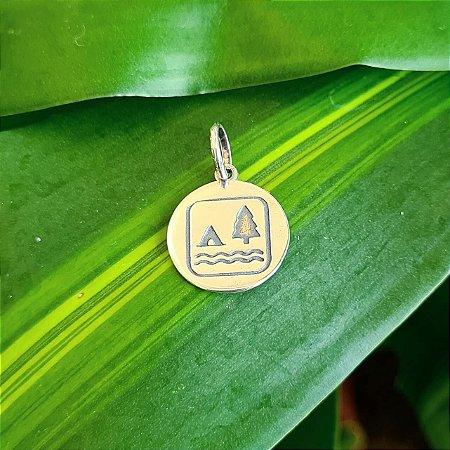 Pingente Medalha Camping em Prata 925