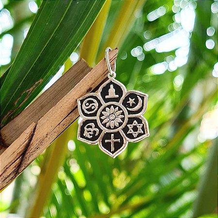 Pingente Mandala com Elementos em Prata 925