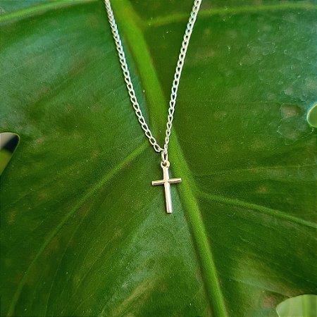 Tornozeleira com Pingente Crucifixo em Prata 925