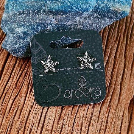 Brinco Pequeno Estrela do Mar em Prata 925 e Marcassita