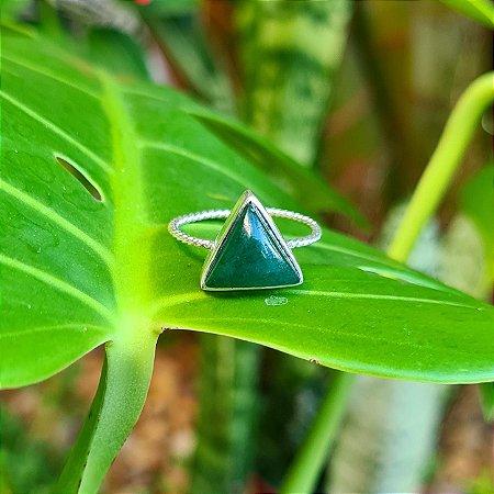 Anel Triângulo em Prata 925 e Jade