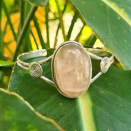 Bracelete em Prata 925 e Quartzo Rosa