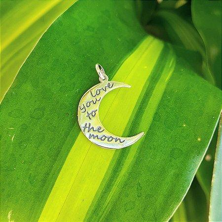 Pingente Meia Lua Love em Prata 925