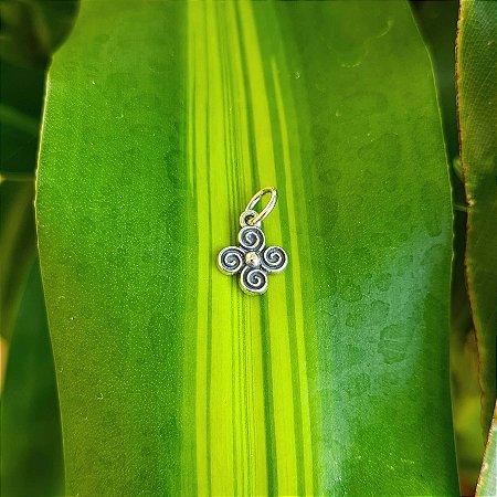 Pingente Flor com Espirais em Prata 925