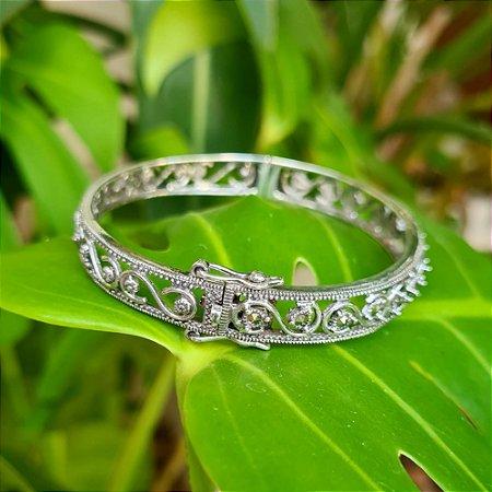Bracelete em Prata 925 e Marcassita