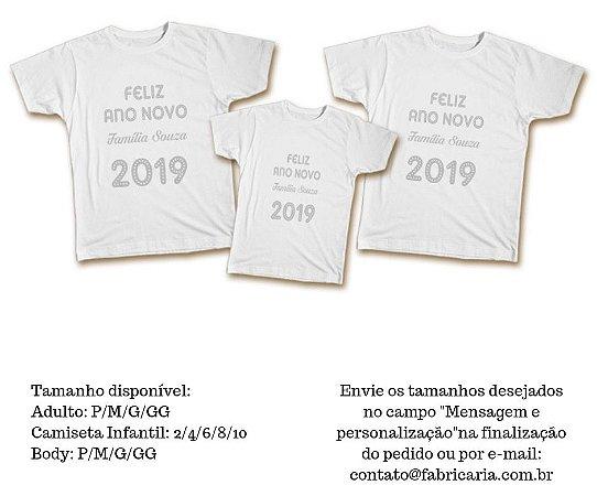 6edde1dfbed34 Kit Camiseta Personalizada Família - Feliz Ano Novo - Fabricaria ...