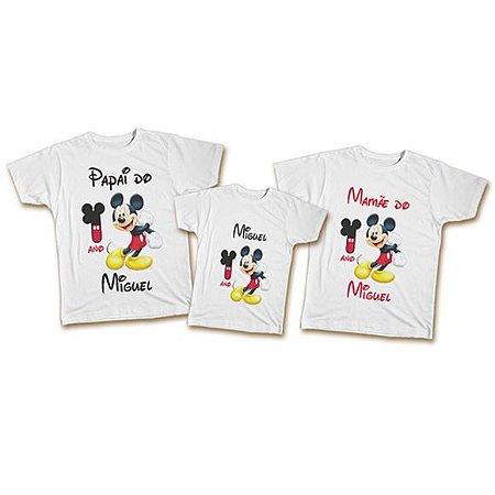 4fc0e99ecc7b Kit de Camisetas Família Aniversário Mickey - Body Infantil e ...