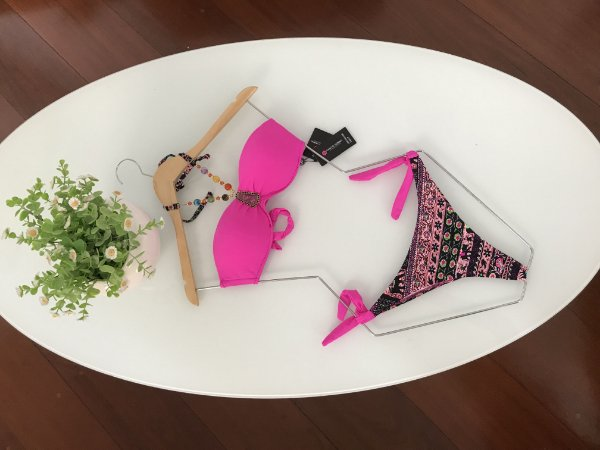 bojo rosa e calcinha florida TAM:P