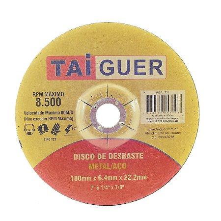 Disco De Desbaste Metais 180X6,4X22mm T27 - TAIGUER
