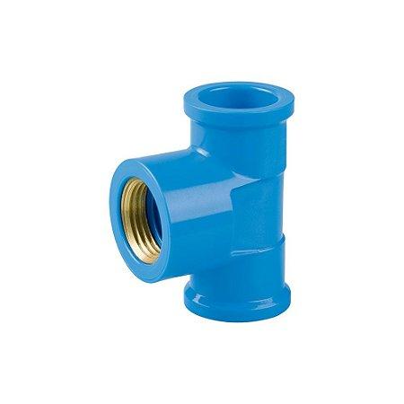 "Tê Azul Com Bucha Latão 20mm X 1/2"" Pct/24 - PLASTUBOS"