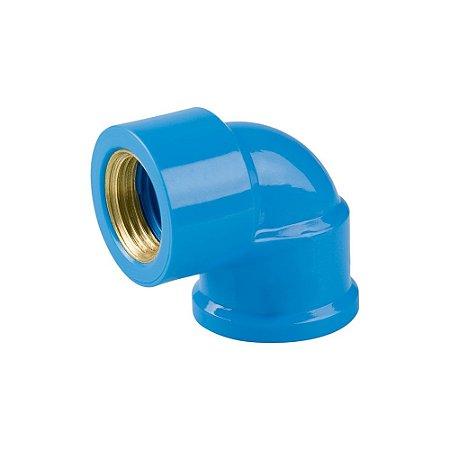 "Joelho 90º Azul Com Bucha Latão 25mm X 3/4"" Pct/24 - PLASTUBOS"
