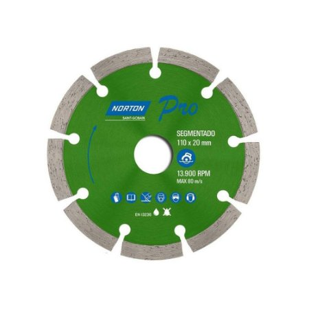 Disco Diamantado Pró Segmentado 110X20mm - NORTON