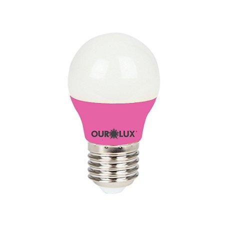 Lâmpada Super Led S30 Colors 3W Bivolt Rosa - OUROLUX