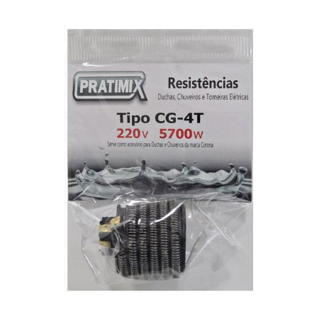 Resistência Para Chuveiro 4T Gorducha 220V 5700W- Tipo CG 4T - PRATIMIX