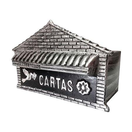 Caixa De Correio Jornal Tijolinho Prata 43x20x15cm - 2 IRMÃOS