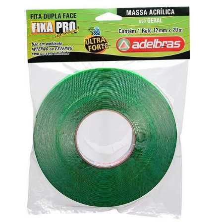 Fita Dupla Face Verde - 12mm X 20M - ADELBRAS
