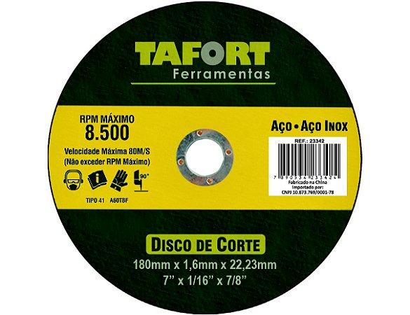 Disco De Corte Aço/Inox 180X3X22mm T42 - TAIGUER