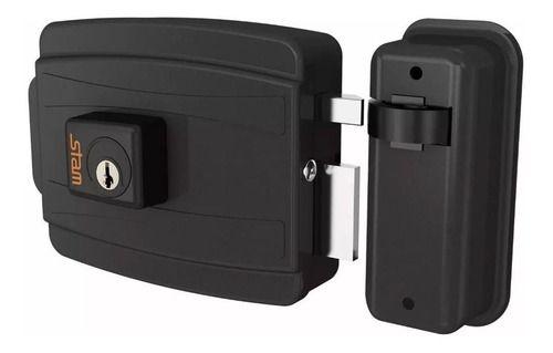 Fechadura Elétrica Stam Cilíndro 40mm Abre para Dentro Preto Fosco - STAM