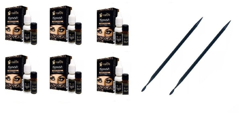 6 Kits Henna  Sobrancelhas Makiaj  + 2 Palito Dosador