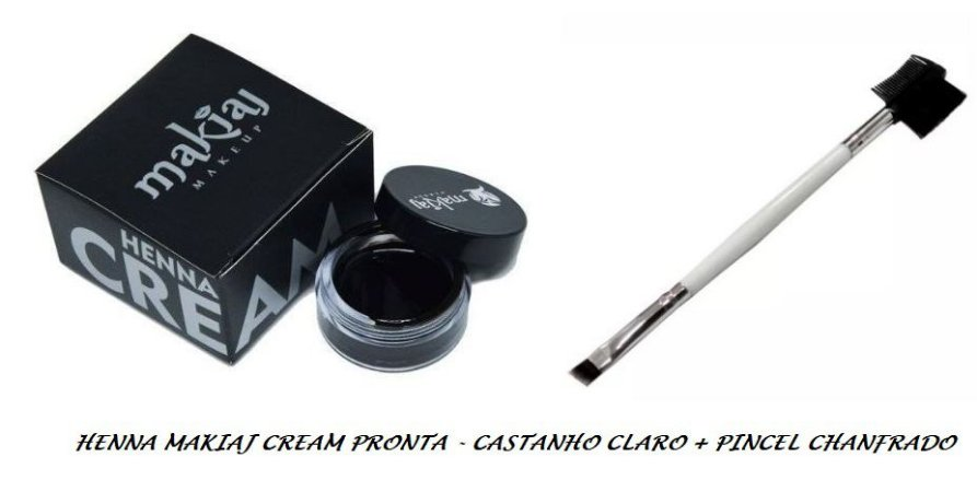 Henna Cream Sobrancelhas Makiaj Pronta + Pincel Chanfrado