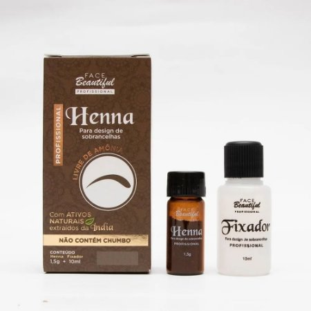 Henna Sobrancelha Profissional Face Beautiful 1,5g +10ml fix