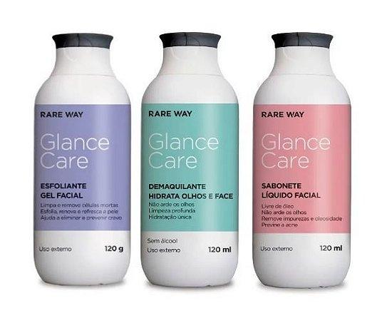 Kit Glance Demaquilante Esfoliante Sabonete Liquido Facial