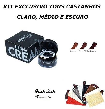 3 Hennas Makiaj Cream Creme Sobrancelhas PRONTA Castanhos