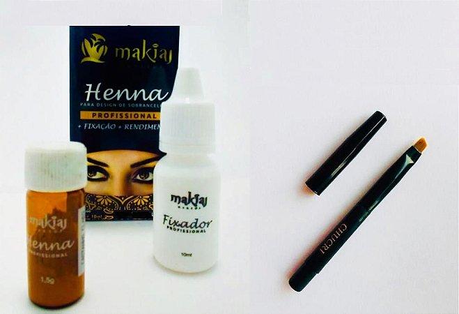 Henna Makiaj Sombrancelha Efeito Natural + Pincel Chanfrado