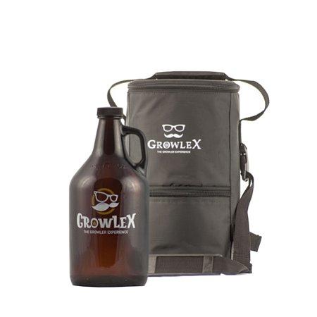 Kit - Growler Americano Vidro - 2 litros + Bolsa Growlex - 4 litros