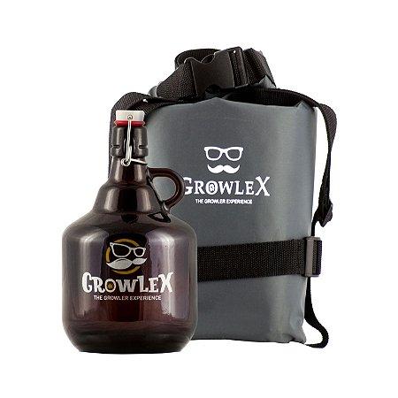Kit - Growler Vidro Fliptop - 2 litros + Bolsa Estanque - 2 litros
