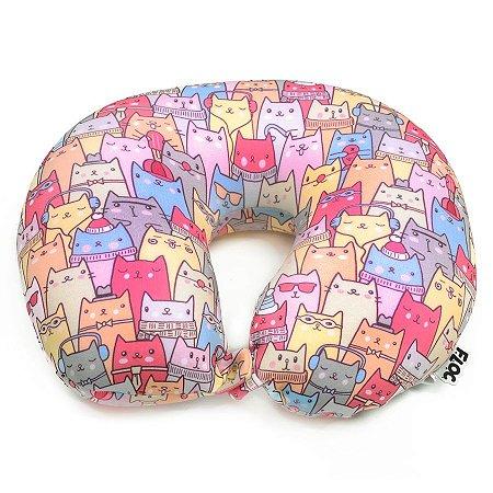 Almofada Para Pescoço Estampa de Gatos Colorida