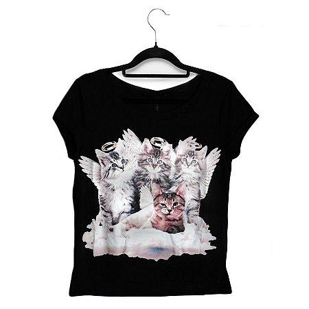Camiseta Preta Baby Look Gatos Anjos
