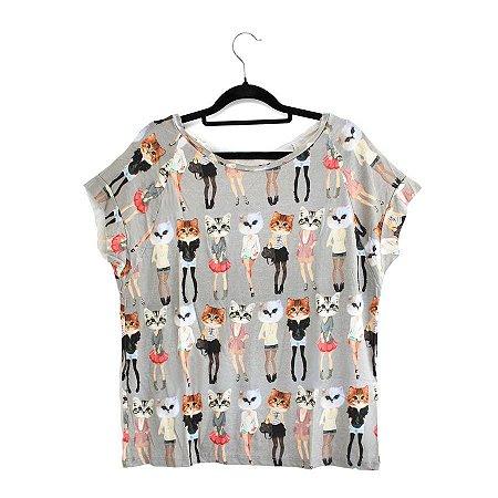 Blusa Cinza Estampa de Gatos Cat Funny Mood