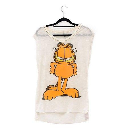 Blusa Branca Leve Gato Garfield Mão na Cintura