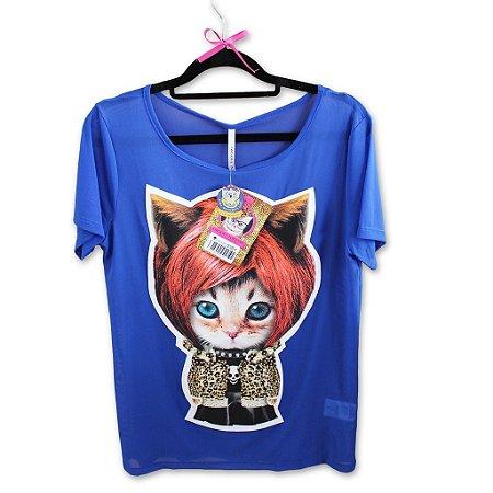 Blusa Azul Fantasy Cat