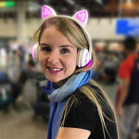 Fone de Ouvido Wireless Bluetooth Orelha de Gato com LED