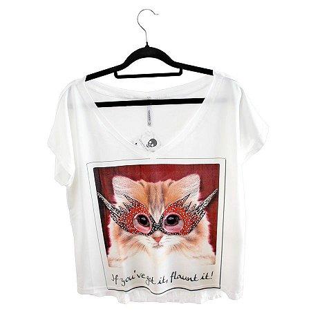 Blusa Branca com Strass Gata Cat Rock