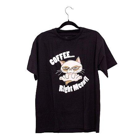 Camiseta Preta Coffee Right Meow