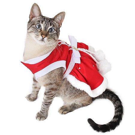 Roupinha Vestido de Natal Gato Natalino