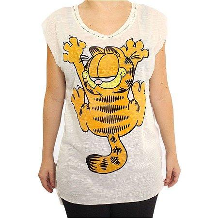 Camiseta Branca Gato Garfield Arranhando Com Pedraria