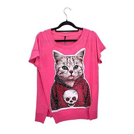 Camiseta Pink Gato Olho Verde